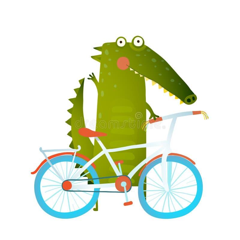 Cartoon green funny crocodile with bicycle stock illustration