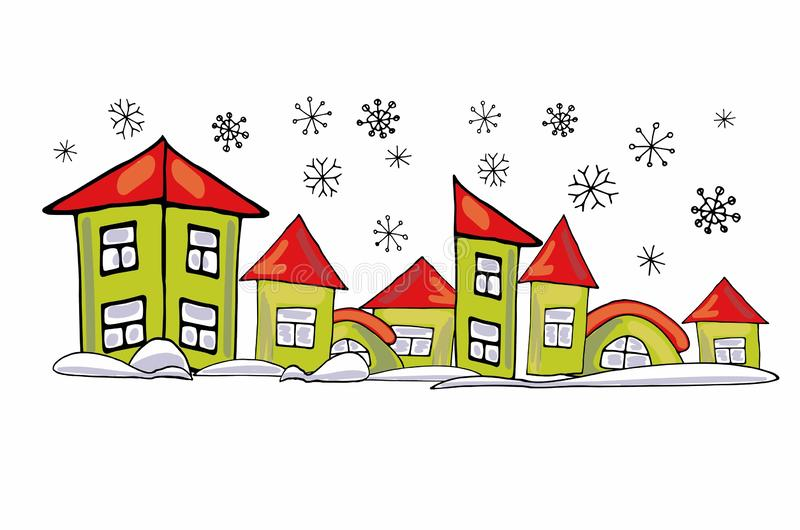 Cartoon green houses of different shapes on a white background in snowdrifts. New Year sticker. stock photo