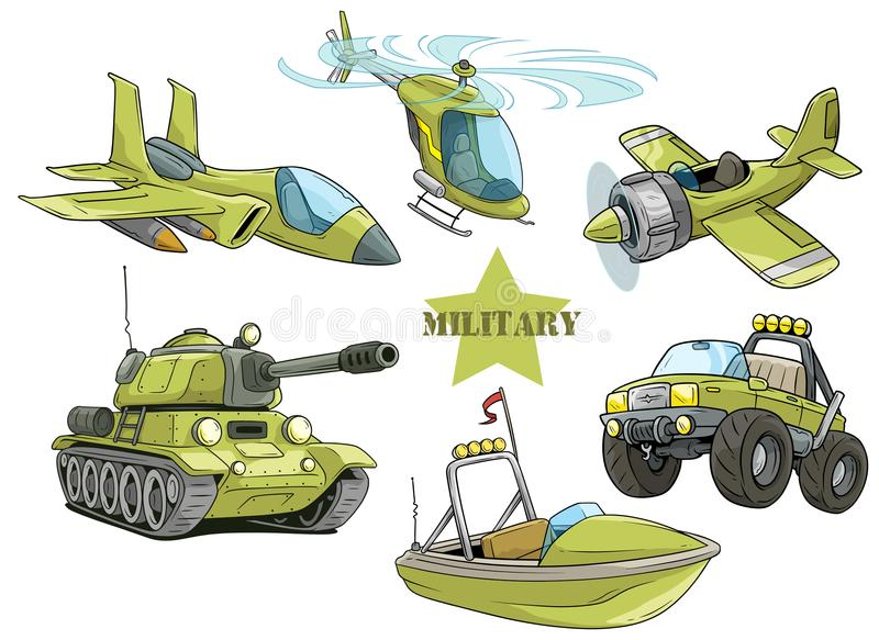 Cartoon green military army vehicles vector set stock illustration