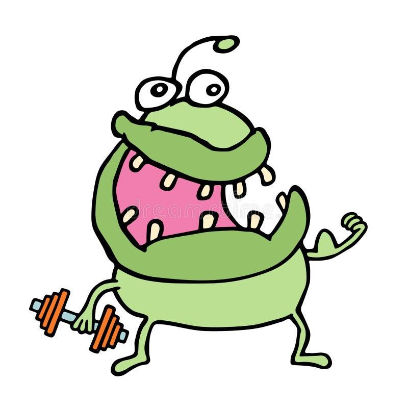 Cartoon green monster keeps a dumbbell. Vector illustration. stock photography