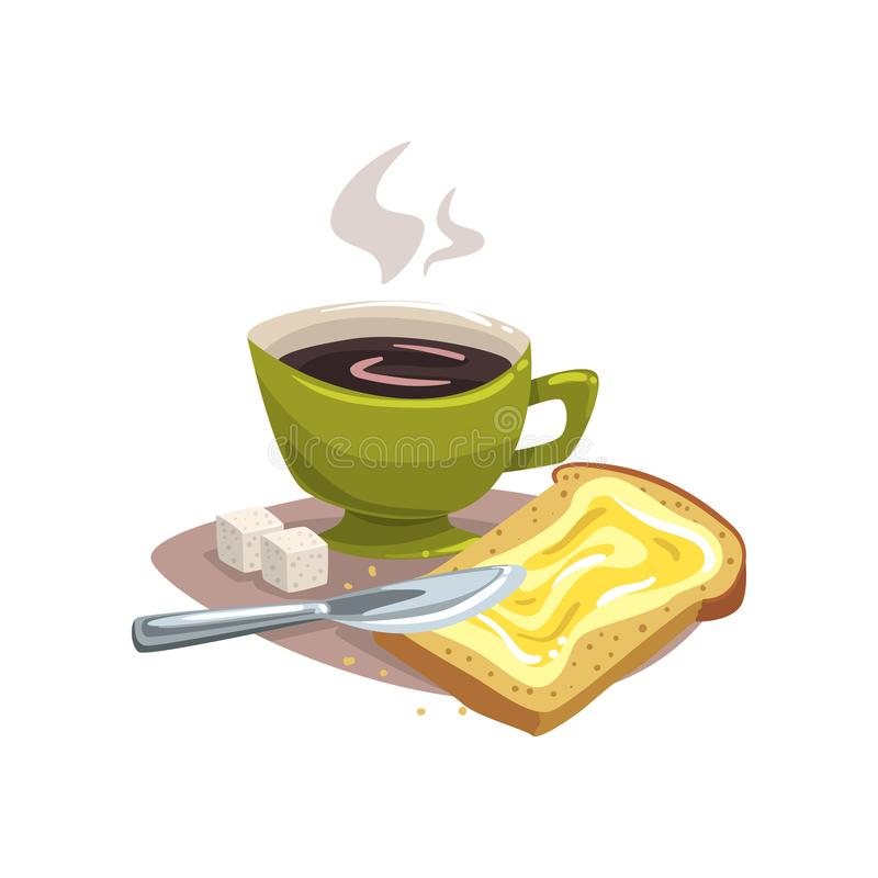 Cartoon green mug with hot coffee, bread with butter and two cubes of sugar. Delicious breakfast concept. Good morning vector illustration