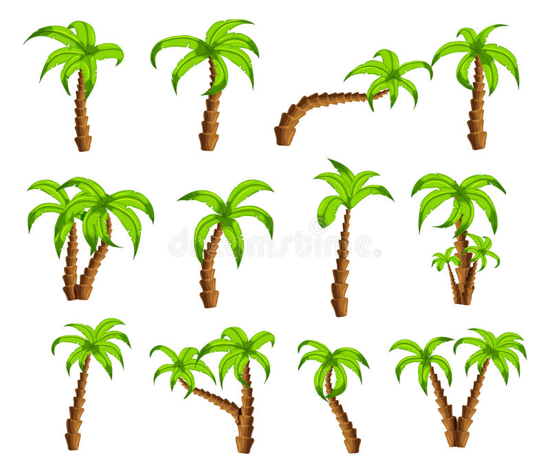 Cartoon green palm trees on a white background. Set of funny cartoon tropical trees patterns icons, for filling. Your sky scenes or the game interface stock illustration