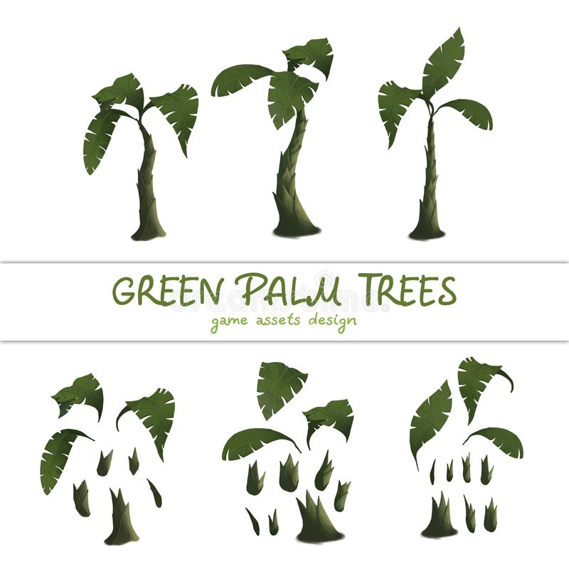 Cartoon green palm trees on a white background. Set of isolated elements - game assets design. Set of isolated objects of a tropical tree trunk and green vector illustration