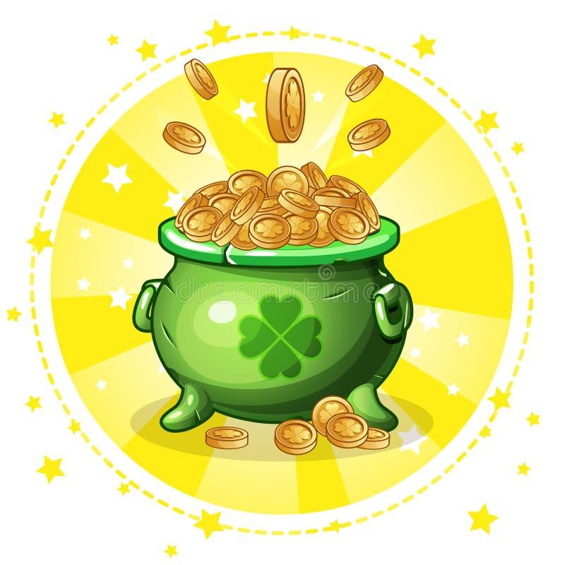 Cartoon green pot of gold coins vector illustration