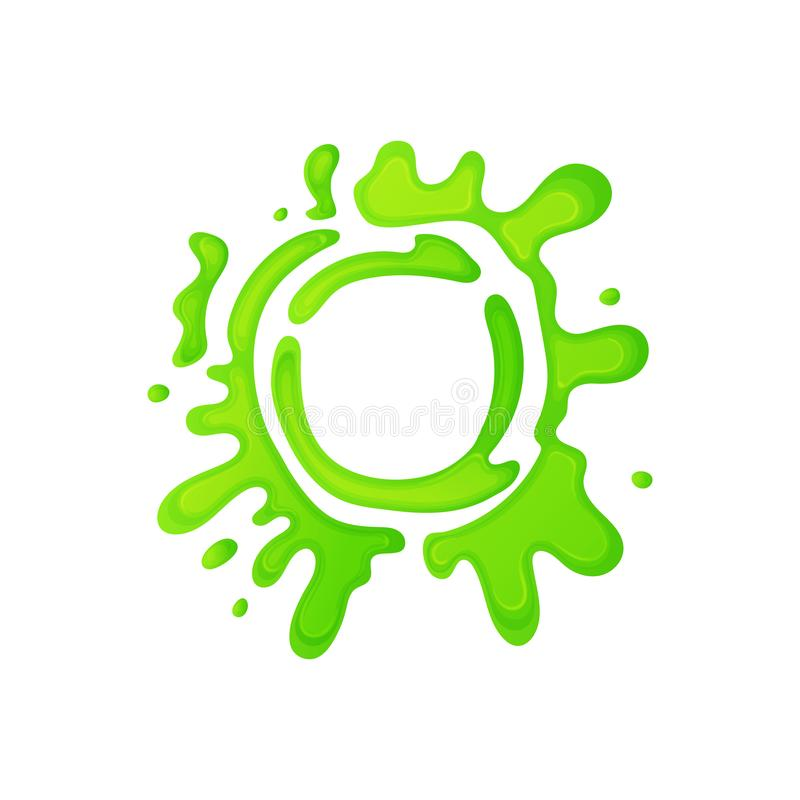 Cartoon green slime circle with gross mucus splatter stock illustration