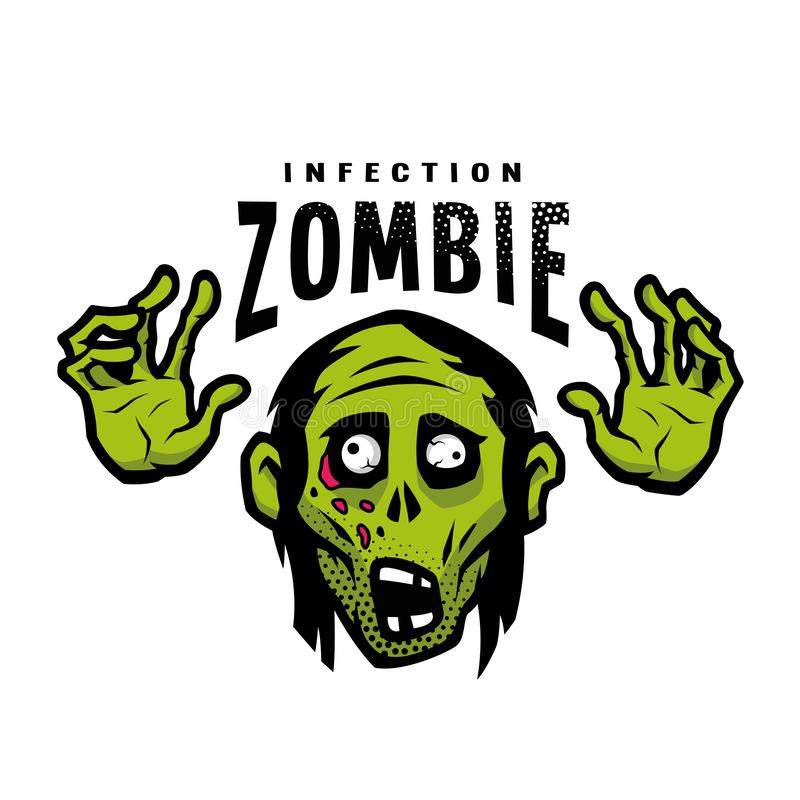 Cartoon green zombie, outbreak infection, emblem. Vector illustration. royalty free illustration
