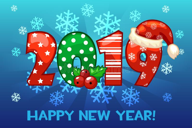 Cartoon greeting banner in the year 2019 on snow background. Vector illustration Happy New Year. vector illustration