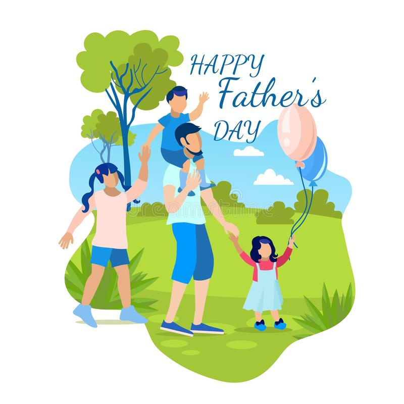 Greeting Card with Lettering Happy Fathers Day royalty free illustration
