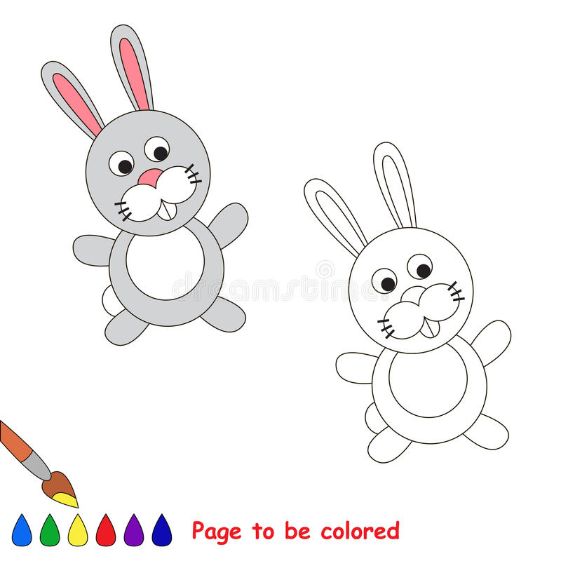 Cartoon grey rabbit to be colored vector illustration
