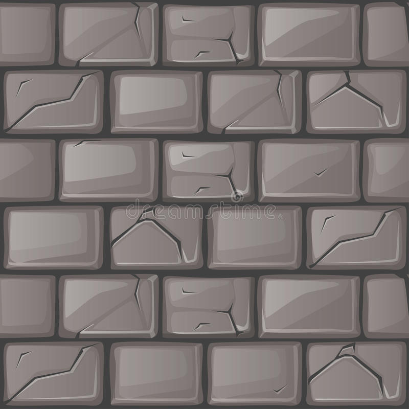 Cartoon grey stone Wall texture. Set seamless background vector illustration
