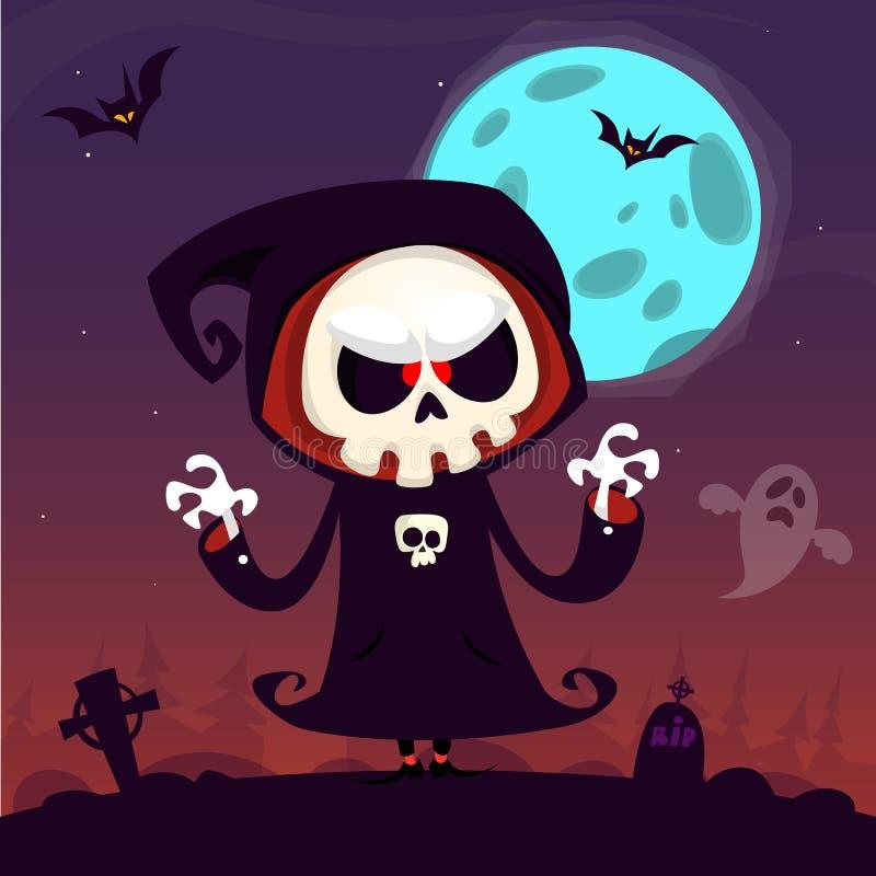 Cartoon grim reaper vector illustration
