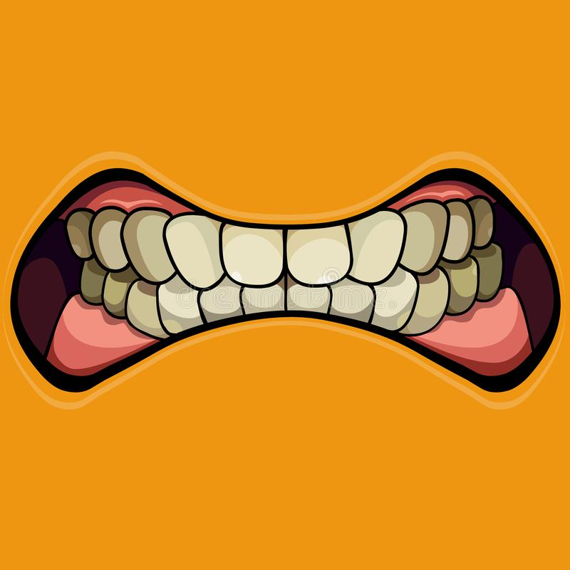 Cartoon grinning mouth with clenched teeth on a yellow background stock illustration