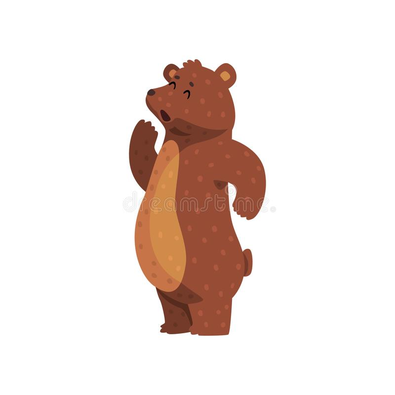 Free Cartoon Grizzly Bear Calling Up For Someone. Cute Animal With Brown Fur, Small Ears And Short Tail. Wild Forest Creature Stock Photos - 107419023