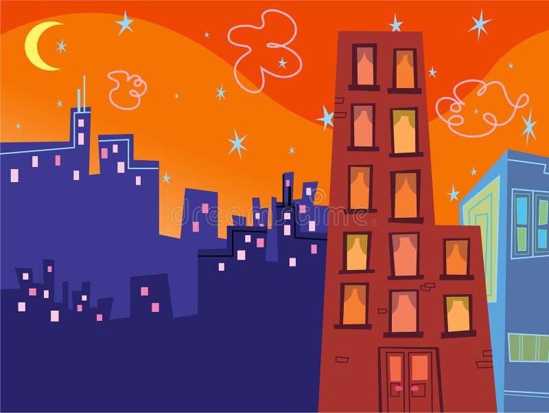 Cartoon groovy buildings stock photos