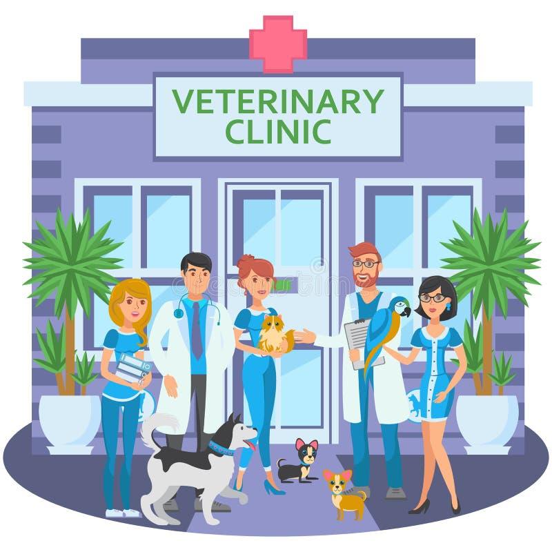 Cartoon group of joyful veterinarians with pets stock illustration