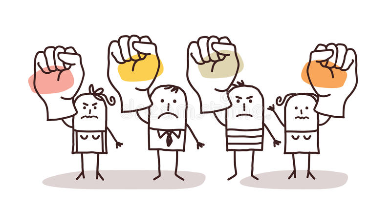 Cartoon group of people saying NO with raised fists vector illustration