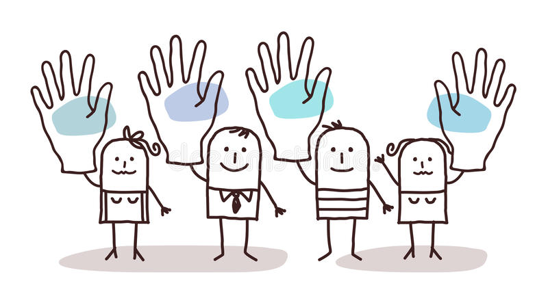 Cartoon group of people saying YES with raised hands vector illustration