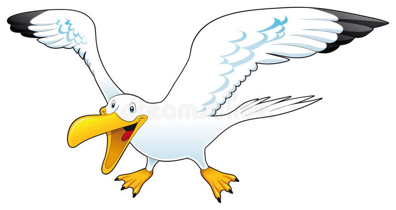 Cartoon gull. Funny and vector character vector illustration