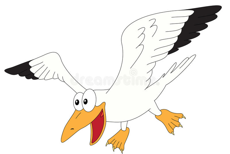 Cartoon gull for babies and little kids. Picture isolated on white background stock illustration