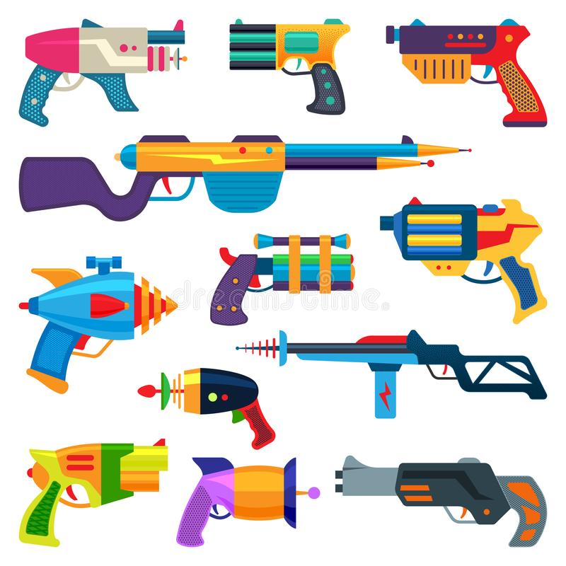 Cartoon gun vector toy blaster for kids game with handgun and raygun of aliens in space illustration set of child. Pistols and laser weapon isolated on white stock illustration