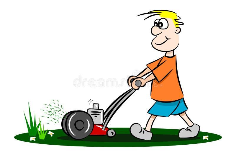 Cartoon Man On Mower : A cartoon guy cutting the grass stock vector