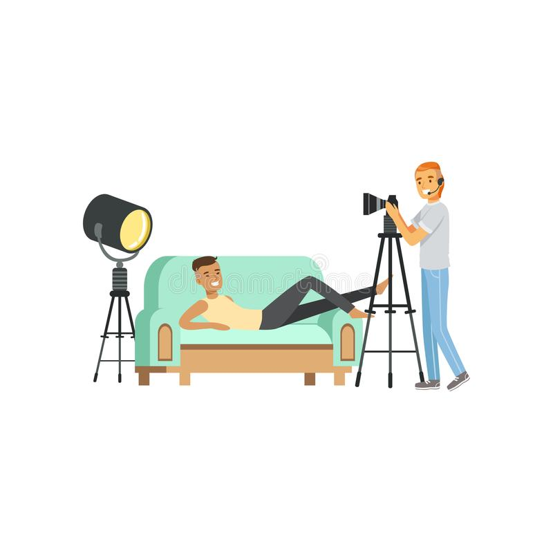 Cartoon guy model character posing lying on couch. Photographer with headphone and professional camera on tripod vector illustration