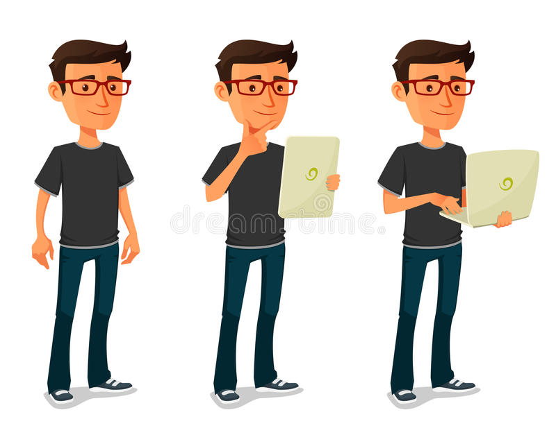 Cartoon guy with tablet and notebook vector illustration