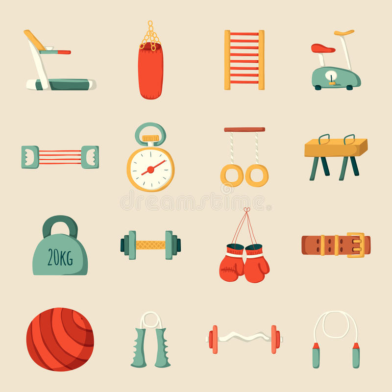 Cartoon gym icons. Set of cartoon gym icons. Sport healthy life concept. Fitness equipment design royalty free illustration