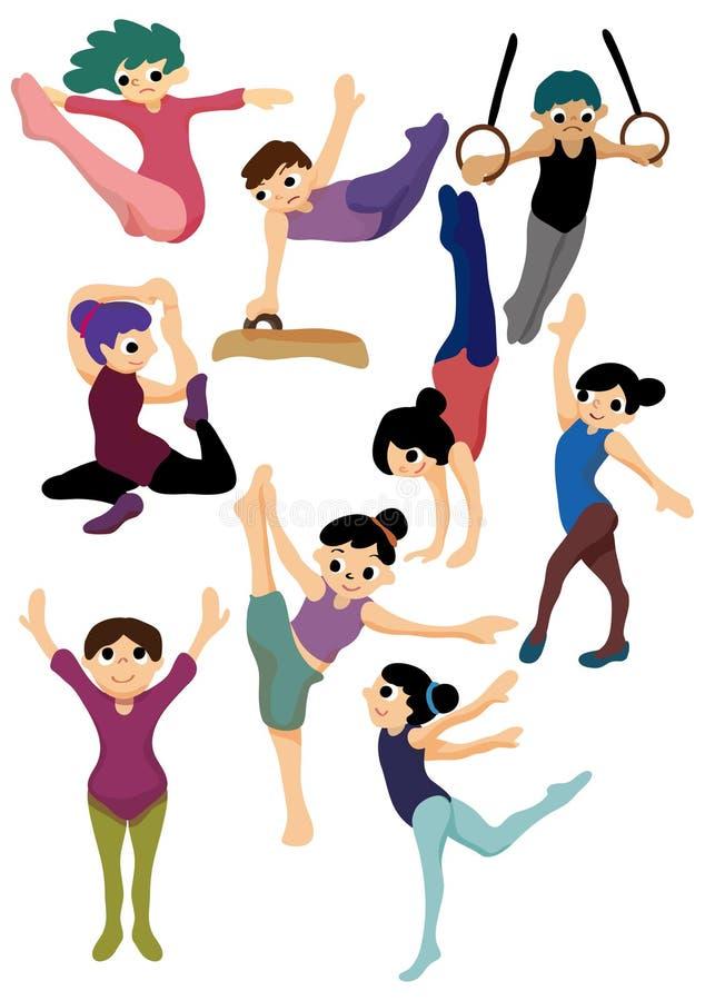 Cartoon gymnastic icon. Vector drawing stock illustration