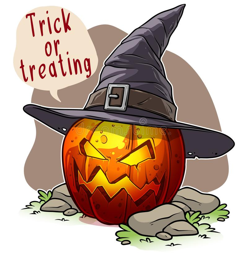Cartoon halloween angry pumpkin with witch hat stock illustration
