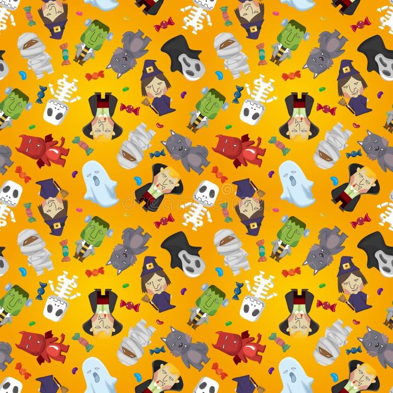 Cartoon Halloween holiday monster seamless pattern vector illustration