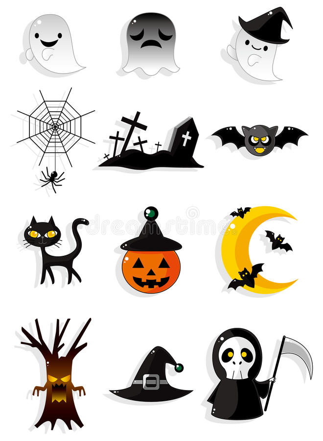 Cartoon Halloween icons royalty free illustration
