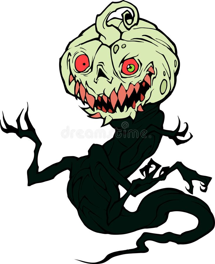 Cartoon halloween illustration of a funny monster. Bogy with sharp claws and scary pumpkin head royalty free illustration