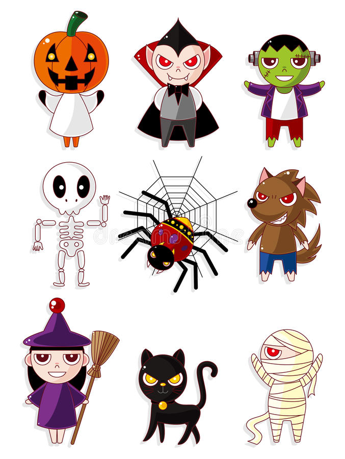 Cartoon Halloween monster icons royalty free illustration
