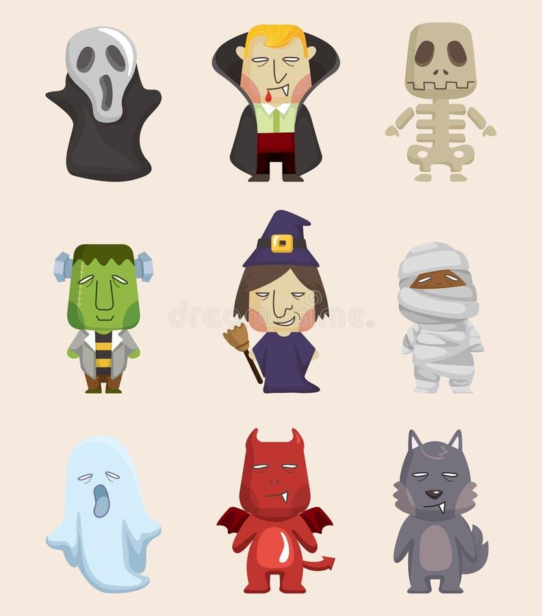 Cartoon Halloween monster icons. Illustration royalty free illustration