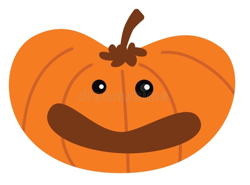 Cartoon halloween pumpkin with happy expression stock illustration