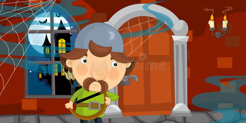 Cartoon halloween scene with medieval warrior in some old scary castle. Happy and funny traditional illustration for children - scene for different usage royalty free illustration