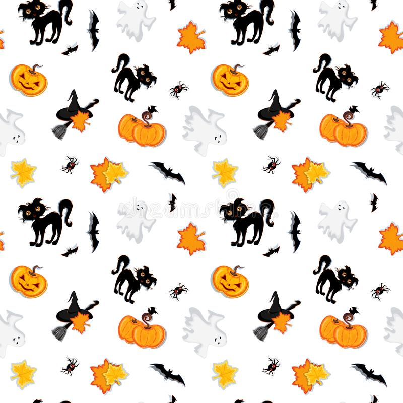 Cartoon Halloween set. Characters collection  on white background: witch, ghost, pumpkins, bats, spider, cat, moonlight royalty free illustration