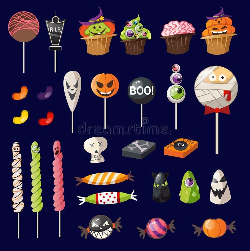 Cartoon halloween sweets on navy blue background. Halloween decoration set. Vector illustration stock illustration