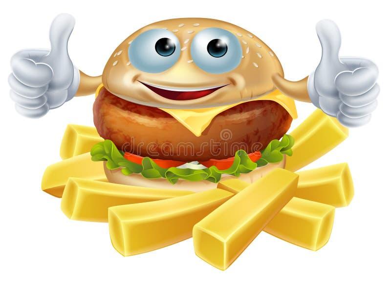 Cartoon hamburger and fries vector illustration