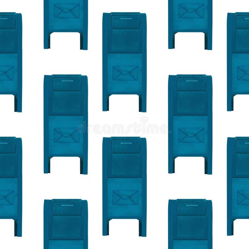 Cartoon hand darwn USA mail box illustration. Modern post. background pattern with blue mail boxes. Background pattern with blue mail boxes vector illustration