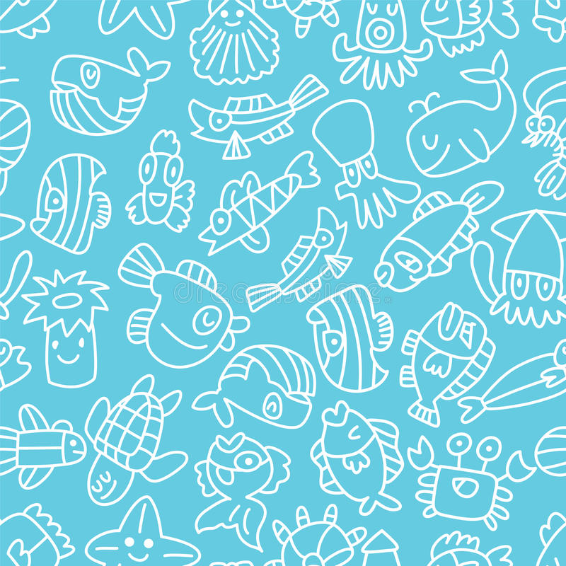 Download Cartoon Hand Draw Fish Seamless Pattern Stock Vector - Illustration: 22139685