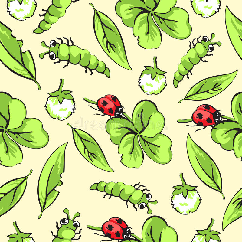 Cartoon hand drawing beetle ladybug and caterpillars, leaves and flowers of clover seamless pattern, vector background stock illustration
