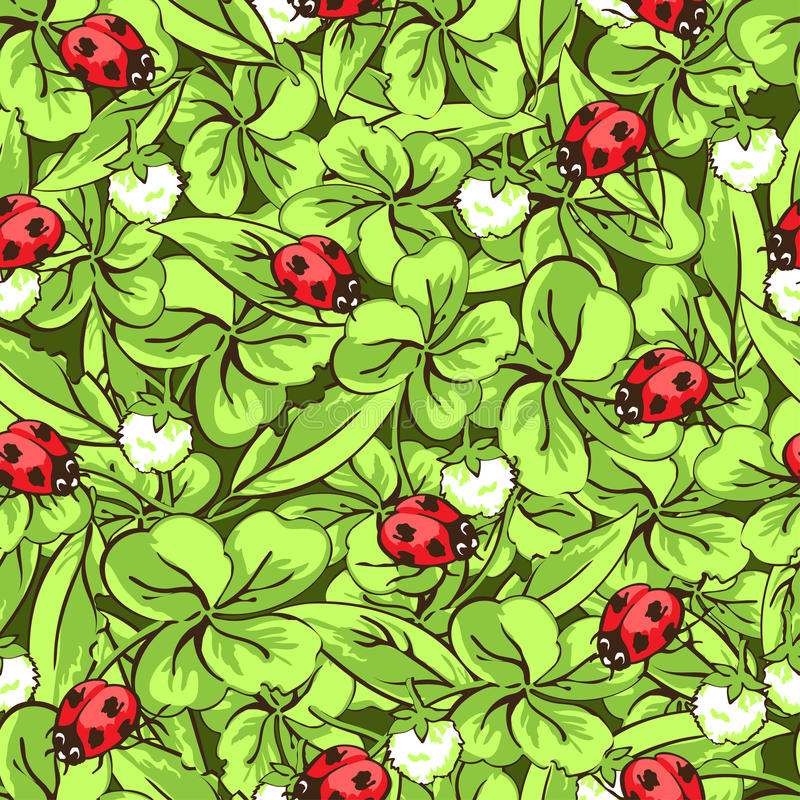 Cartoon hand drawing beetle ladybug, leaves and flowers of clover seamless pattern, vector background. Funny insects on stock illustration