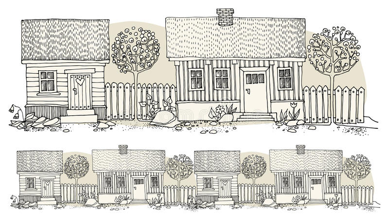 Cartoon hand drawing houses stock illustration