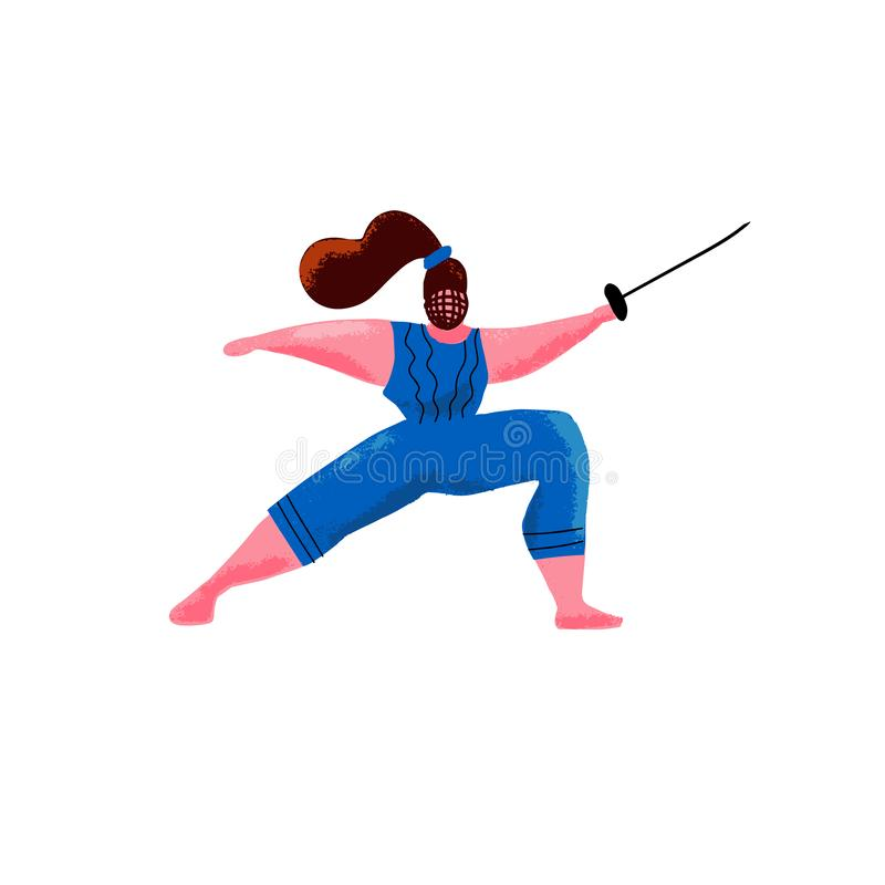 Cartoon hand drawn Cute plus size swordswoman. Fitness fencing concept. Tricky nimble plump woman stands with rapier. fencing royalty free illustration