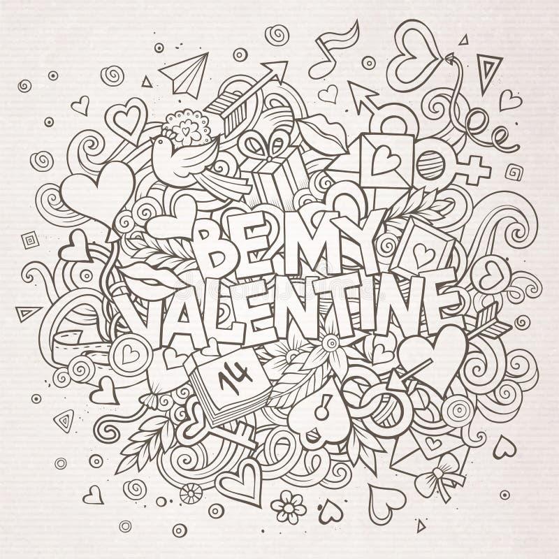 Cartoon hand drawn Doodle Be My Valentine royalty free illustration