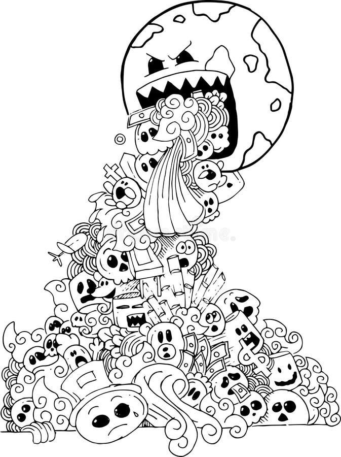 Cartoon hand-drawn doodle stock illustration
