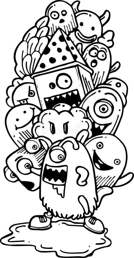 Cartoon hand-drawn doodle. Illustration of cartoon hand-drawn doodle stock illustration
