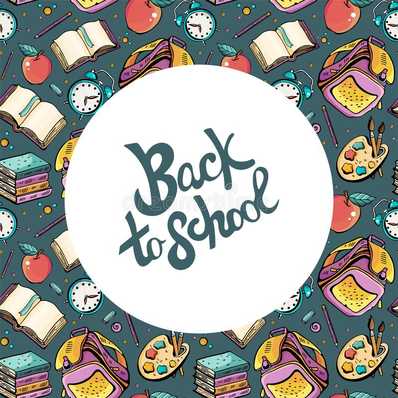 Cartoon hand drawn Doodle illustration concept back to school. Colorful frame detailing place under the text, with lots of objects. Vector background design stock illustration